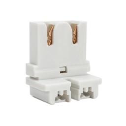 Fluorescent non-shunted short low profile straight insertion medium bi-pin slide on socket for T8 LED lamp conversions