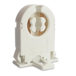 Fluorescent low profile non-shunted rotary lock bi-pin socket with nib for T8 LED  lamps