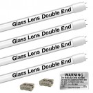EZ LED T8 FROSTED glass retrofit kit fits 4 tube 4-foot light, Type-B, Double End 4000K Natural White Color