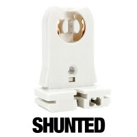 SHUNTED tall medium Bi-Pin slide on tombstone socket for T12 or T8 lights 20 gauge metal