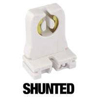 Fluorescent shunted socket for T12 or T8 lamps