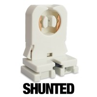 SHUNTED medium Bi-Pin snap in tombstone socket with Nut for T12 or T8 lights