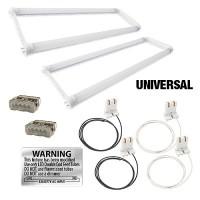LED T8 Universal U-bend FROSTED lens 2 lamp complete retrofit kit 4000K Natural White light