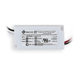 EMCOD MLE60-12DC-P 60watt 12volt DC LED electronic driver transformer indoor dimmable Class 2