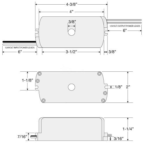 105 Watt 12vac Electronic Encapsulated Transformer Mdl 316