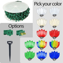 LED C7 Christmas string light green wire kit - Your Choice Color C7 Bulbs 1000ft