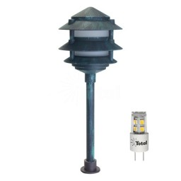LED outdoor landscape lighting verde green 3-tier pagoda path light warm white low voltage