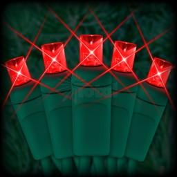 "LED red Christmas lights 50 5mm mini wide angle LED bulbs 6"" spacing, 23ft. green wire, 120VAC"