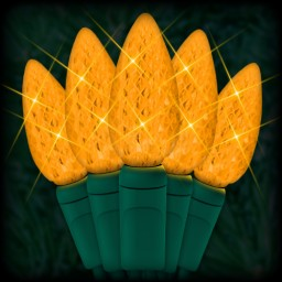 """LED amber Christmas lights 35 C6 LED strawberry style bulbs 4"""" spacing, 12ft. green wire, 120VAC"""
