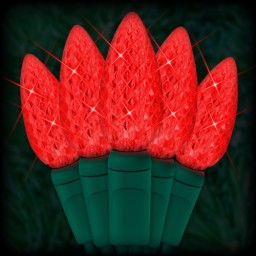 """LED red Christmas lights 50 C6 LED strawberry style bulbs 6"""" spacing, 23ft. green wire, 120VAC"""