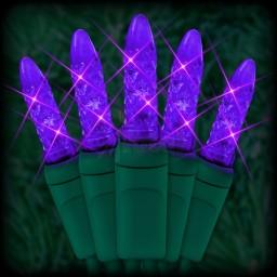 "LED purple Christmas lights 50 M5 mini LED bulbs 6"" spacing, 23ft. green wire, 120VAC"