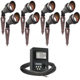 LED outdoor landscape lighting spot kit, 8 spot lights, 45watt power pack photocell, digital timer, 80-foot cable