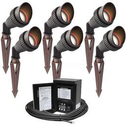 LED outdoor landscape lighting spot kit, 6 spot lights, 45watt power pack photocell, digital timer, 80-foot cable