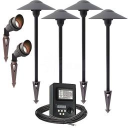 LED outdoor landscape lighting spot path kit, 2 spot lights, 4 path lights, 45watt power pack photocell, digital timer, 80-foot cable