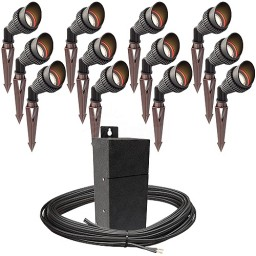 Pro LED outdoor landscape lighting 12 spot light kit EMCOD 100watt power pack photocell, mechanical timer, 160-foot cable