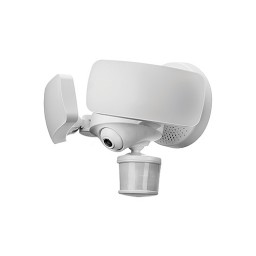 White Maximus smart motion security flood light, HD camera, Two-Way talk, Siren, 5000K, 2400 lumens SPL12-06A1W4-WH