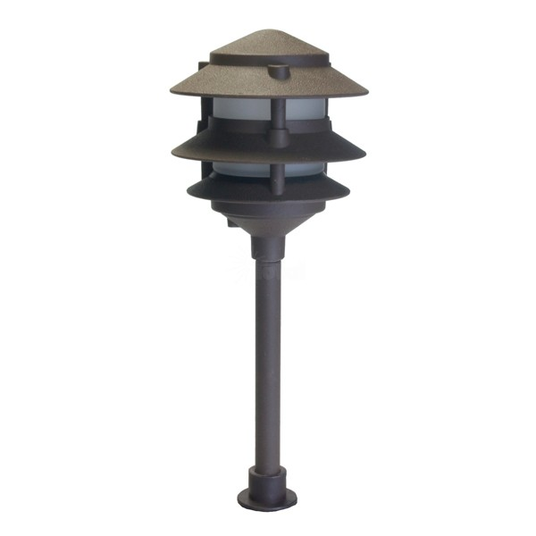 Landscape lighting low voltage frosted three tier pagoda light aloadofball Gallery