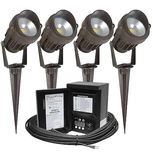 Outdoor led landscape lighting kit four spot lights malibu 45watt outdoor led landscape lighting kit four spot lights malibu 45watt power pack photocell digital timer 80 foot cable aloadofball Gallery