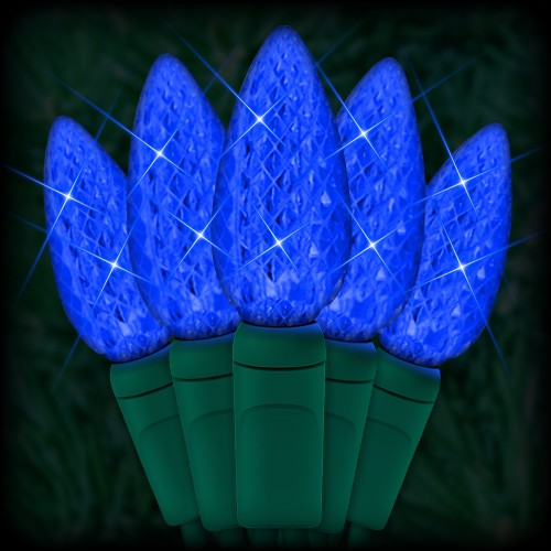 """led blue christmas lights 50 c6 led strawberry style bulbs 6"""" spacing  23ft green wire 120vac"""