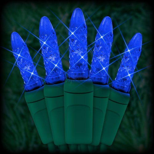 led blue christmas lights 50 m5 mini led bulbs 6 spacing 23ft green wire 120vac