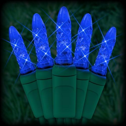 "led blue christmas lights 50 m5 mini led bulbs 6"" spacing 23ft green  wire 120vac"