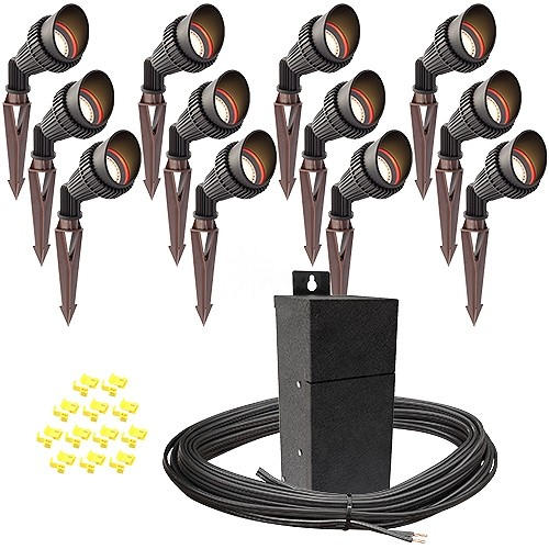 Pro led outdoor landscape lighting 12 spot light kit emcod 100watt pro led outdoor landscape lighting 12 spot light kit emcod 100watt power pack photocell mechanical timer 160 foot cable aloadofball Choice Image