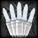 "LED cool white Christmas lights 50 M5 mini LED bulbs 6"" spacing, 23ft. white wire, 120VAC"