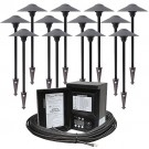 LED outdoor landscape lighting path kit, 12 path lights, Malibu 45watt power pack photocell, digital timer, 160-foot cable