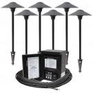 LED outdoor landscape lighting path kit, 6 path lights, Malibu 45watt power pack photocell, digital timer, 80-foot cable