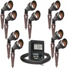 LED outdoor landscape lighting spot kit, 10 spot lights, 45watt power pack photocell, digital timer, 160-foot cable