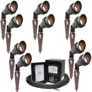 LED outdoor landscape lighting spot kit, 10 spot lights, 45watt power pack photocell, digital timer, 160-foot cable
