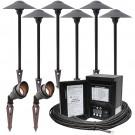 LED outdoor landscape lighting spot path kit, 2 spot lights, 6 path lights, Malibu 45watt power pack photocell, digital timer, 80-foot cable