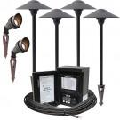 LED outdoor landscape lighting spot path kit, 2 spot lights, 4 path lights, Malibu 45watt power pack photocell, digital timer, 80-foot cable
