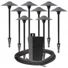 Pro LED outdoor landscape lighting path kit, 8 path lights, EMCOD 100watt power pack photocell, mechanical timer, 80-foot cable