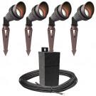 Pro LED outdoor landscape lighting 4 spot light kit EMCOD 100watt power pack photocell, mechanical timer, 80-foot cable