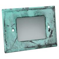 Outdoor landscape lighting aged green half brick step light face plate, 7110 series