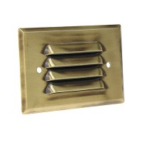 LED Outdoor landscape lighting antique brass half brick louver step light 7112 series, cool white, low voltage 12volt