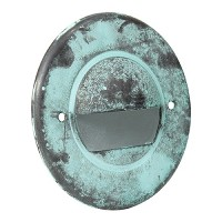 LED Outdoor landscape lighting round aged green half brick step light 7121 series, cool white, low voltage 12volt