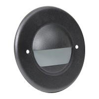 LED Outdoor landscape lighting round black half brick step light 7121 series, cool white, low voltage 12volt
