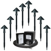 Outdoor landscape LED eight Maximus RS168C-M150-BK-1 path light kit, 45watt power pack photocell, digital timer, 160-foot cable
