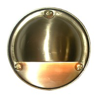 Outdoor low voltage hood solid cast brass round surface step light in 2 colors