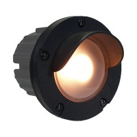 Outdoor low voltage visor PBT composite round recessed step & brick wall light in 2 colors