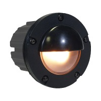 Outdoor low voltage hooded PBT composite round recessed step & brick wall light in 2 colors