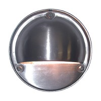 Outdoor low voltage hood round brushed stainless steel coated brass surface step light