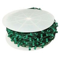 "LED green C9 Christmas light bulk spool stringer, blank sockets, 12"" spacing, 1000ft, AWG18, SPT-1 rated, 120VAC"