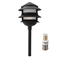 LED outdoor landscape lighting black 3-tier pagoda path light warm white low voltage