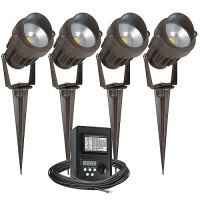 Outdoor LED landscape lighting kit, four spot lights, Malibu 45watt power pack photocell, digital timer, 80-foot cable