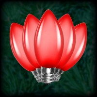 LED red C9 Christmas bulbs smooth, replacement, spare, 25 pack, 120VAC