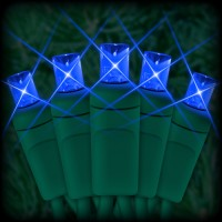 "LED blue Christmas lights 50 5mm mini wide angle LED bulbs 2.5"" spacing, 12ft. green wire, 120VAC"