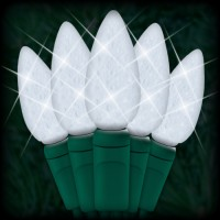 "LED cool white Christmas lights 35 C6 LED strawberry style bulbs 4"" spacing, 12ft. green wire, 120VAC"